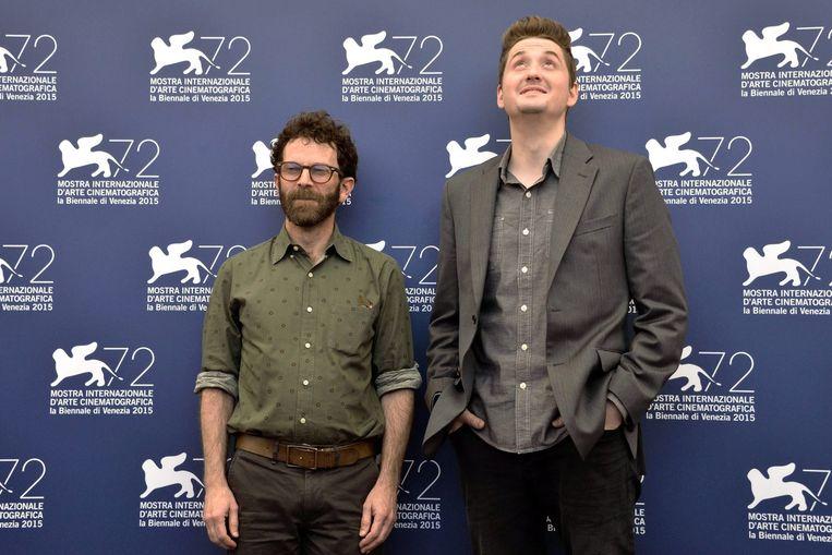Charlie Kaufman (links) en Duke Johnson (rechts) op het Filmfestival van Venetië. Beeld EPA