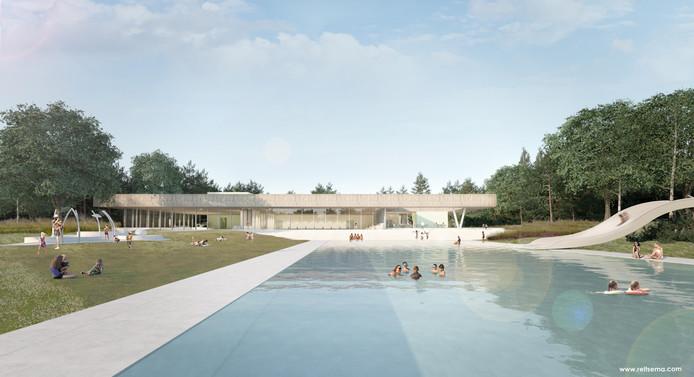 De achterkant van het nieuwe zwembad met het buitenbad en links het spraypark voor kinderen.