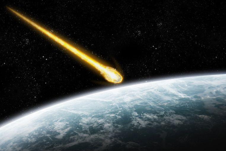 Een illustratief beeld van een meteoriet die onze atmosfeer binnendringt.