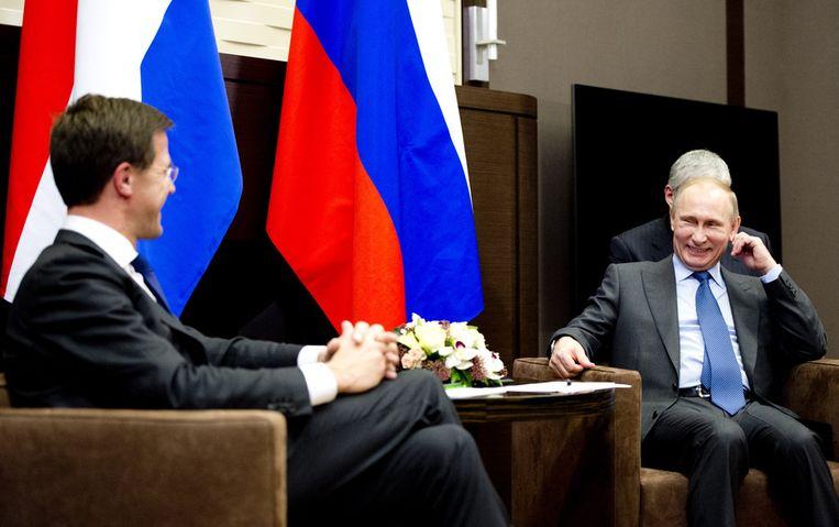 Rutte tijdens zijn ontmoeting met Poetin. Beeld anp
