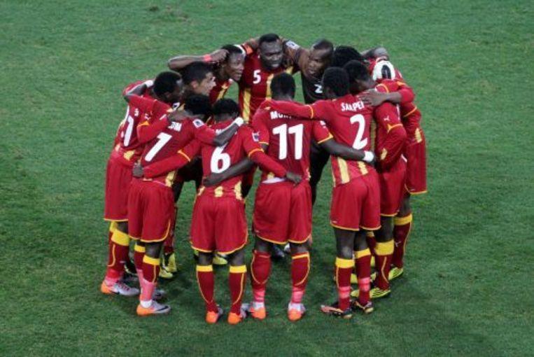 Spelers van het Ghanese elftal tijdens de WK-wedstrijd tegen Uruguay. ANP Beeld