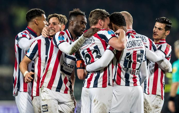Willem II viert de overwinning op PSV.
