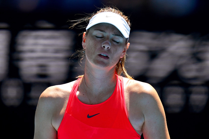 Maria Sjarapova tijdens de Australian Open