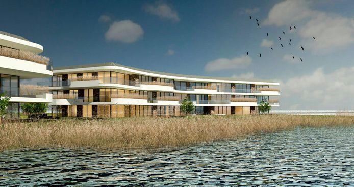 Zo zou het appartementencomplex aan het water van Willemstad eruit gaan zien. Artist impression van 2019