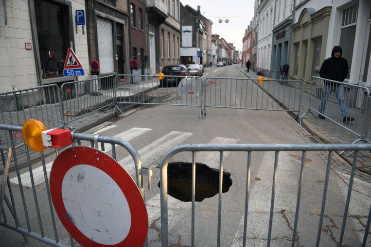 Zinkgat in Tiensestraat in Leuven.