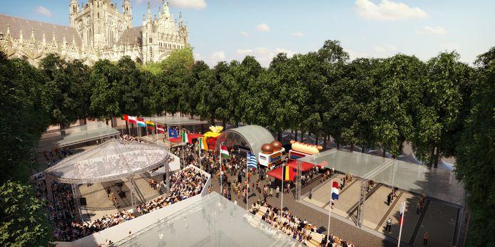 Een indruk van het evenement op de Parade. Links het stadionnetje. Rechts de overdekte (open) jeu-de-boules banen