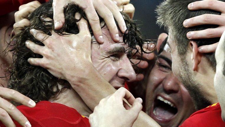 Puyol scoort de winnende goal. Foto AFP Beeld EPA