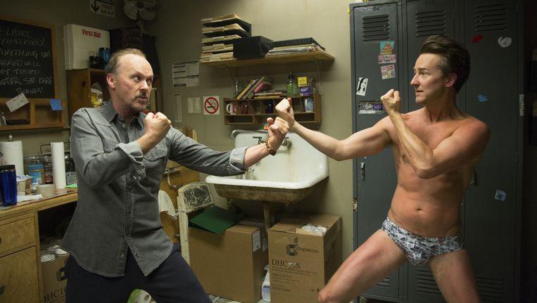 Michael Keaton en Edward Norton in Birdman. Beeld 20th Century Fox