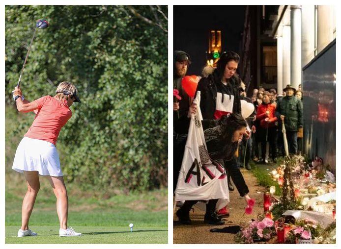 Een herdenking voor Chantal in Hengelo (rechts) en een vrouw die golft (links)