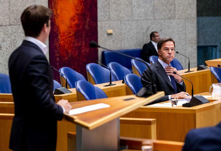Premier Mark Rutte tijdens het Vragenuurtje in de Tweede Kamer.  Beeld ANP