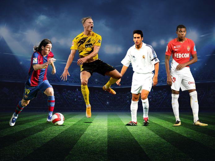 Messi, Haaland, Raul en Mbappé.
