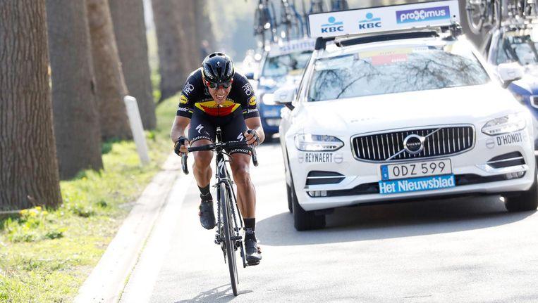 Philippe Gilbert in actie tijdens de wielerklassieker de Ronde van Vlaanderen. Beeld null