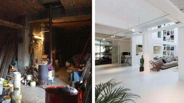 Links: de woonkamer vroeger. Rechts: de vernieuwde woonkamer.