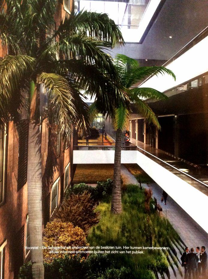 Het ontwerp van een tropische kantoortuin in de Tweede Kamer, van de weggestuurde architect Ellen van Loon.