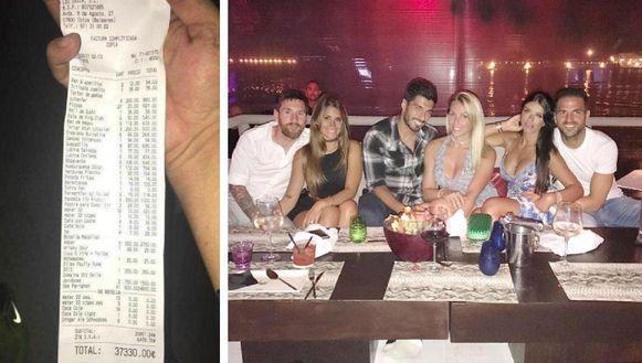 Links: de bewuste rekening. Rechts: Messi, Suarez en Fabregas met hun partners in het havenrestaurant Lio.