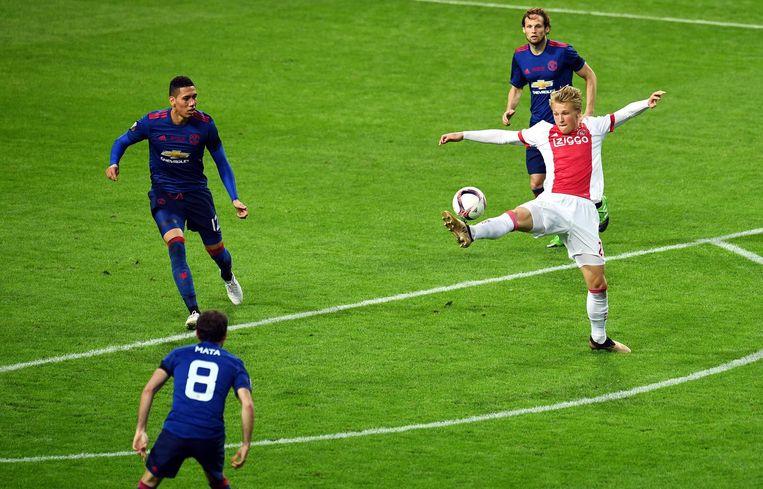 Kasper Dolberg tegen Manchester United in de Europa League-finale Beeld ANP