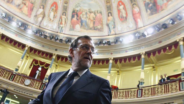 Mariano Rajoy in het Spaanse parlement in Madrid.
