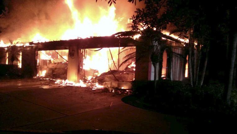 Het uitgebrande huis van oud-tennisser James Blake.