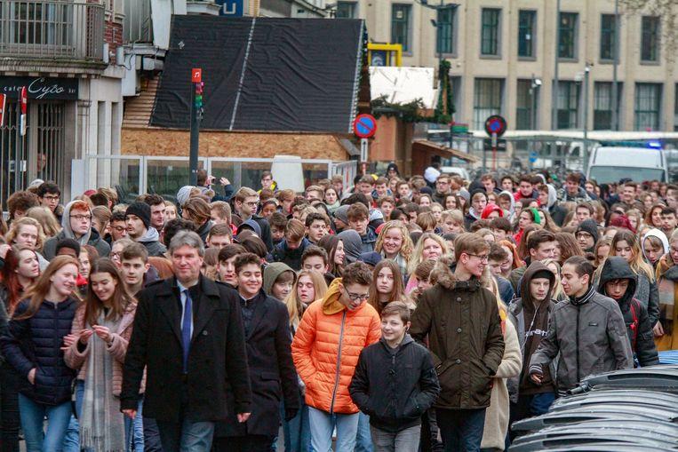 Een beeld van de eerste mars, op donderdag 10 januari.