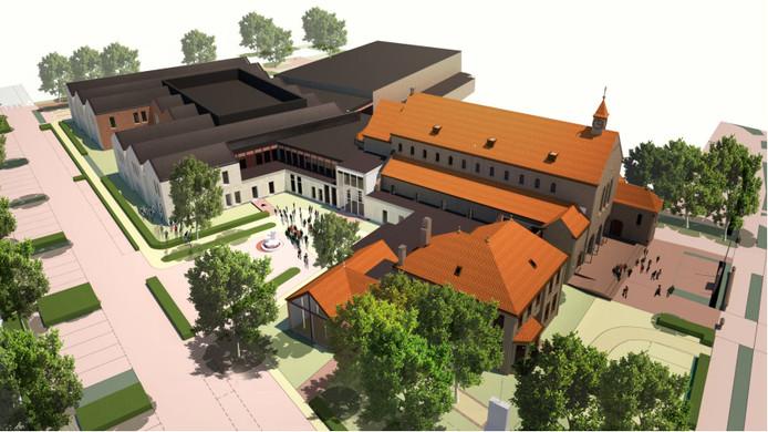 De hoofdingang van de nieuwe multifunctionele accommodatie, gezien vanaf de Oude Provincialeweg.