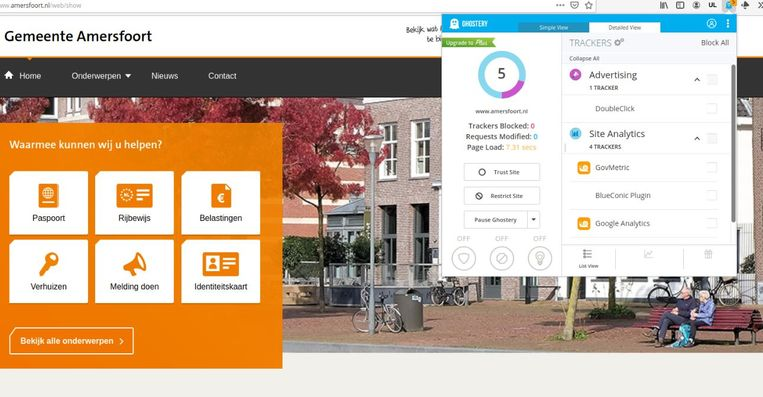 De gemeentesite van Amersfoort speelt data van bezoekers door aan DoubleClick, het advertentienetwerk van Google. Beeld Amersfoort.nl