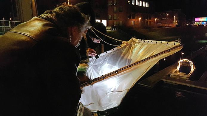 Leden van de 's-Gravenhaagse Hengelsport Vereniging vinden in hun kruisnet in de haven van Scheveningen de allereerste glasaaltjes van het seizoen