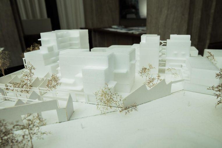Een maquette van het cohousingproject in de oude Malmarfabriek.