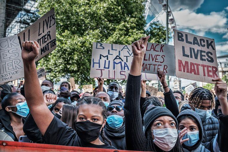 De Black Lives Matter-betoging in Brussel. Beeld Tim Dirven