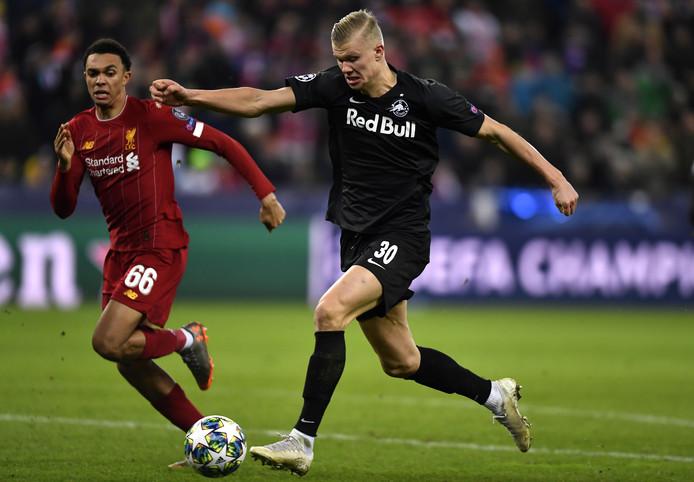 Erling-Braut Haaland afgelopen dinsdag in actie tegen Liverpool.