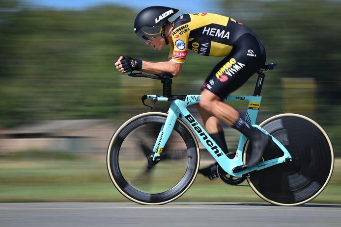 Van Aert tijdens zijn rit naar het goud op het recente BK in Koksijde.