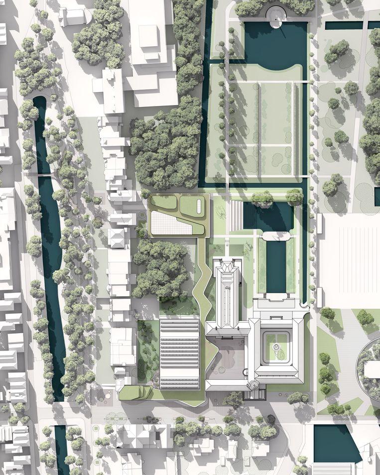 Vernieuwing van het Museum Boijmans Van Beuningen in Rotterdam. De gebouwen en de 'slinger' met het groene dak zijn de vernieuwingen.  Beeld Mecanoo