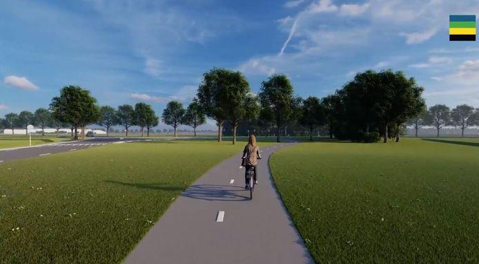 Beeld uit de animatie over de aanpassing van de N832 tussen Well en Gameren. Een impressie van het nieuwe brede fietspad tussen Well. Hier vlakbij de kruising met de Uilecotenweg. Links ligt Kerkwijk, rechts de Achterdijk.