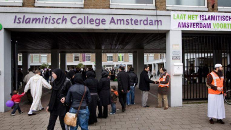 De ingang van het Islamitisch College (ICA) in Amsterdam-Slotervaart. © anp Beeld