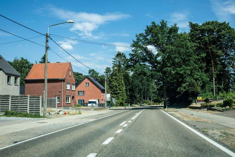 De Heppensesteenweg in Ham, waar een snelheidsmaniak met een snelheid van 173 km/uur gevat werd.