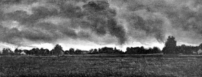 Rookpluimen boven Putten, waar na de razzia 110 huizen in brand zijn gestoken. FOTOBRONFOTOBRONfoto's Gedenkboek voor Putten ronald peters putten