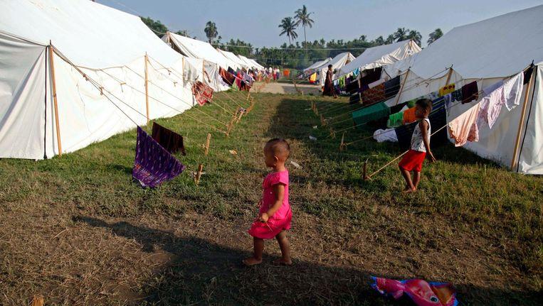 Rohingya-kamp aan de grens van Myanmar. Beeld ap