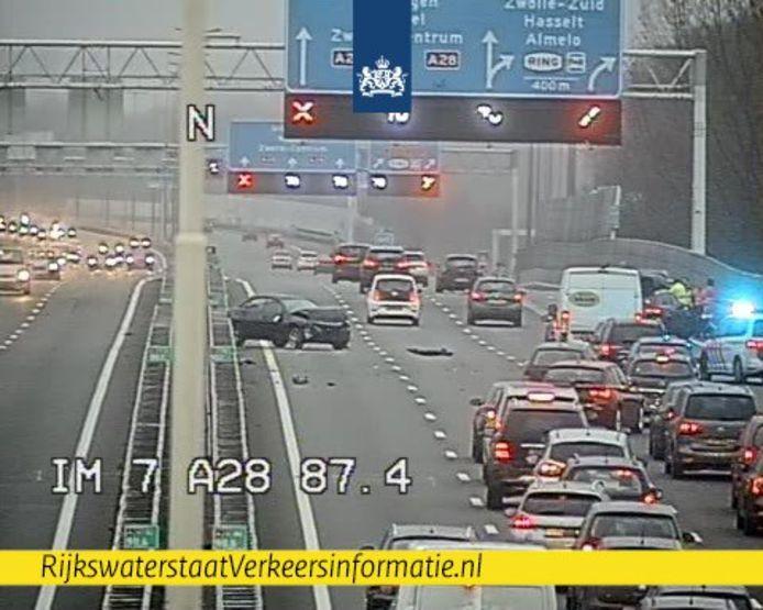 Ongeluk op A28 bij Zwolle.