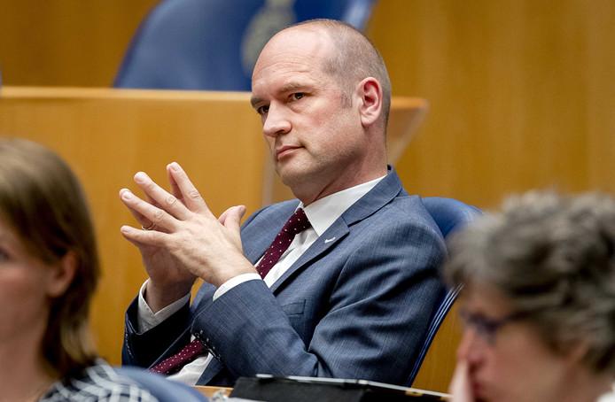 Gert-Jan Segers (ChristenUnie) tijdens het debat in de Tweede Kamer over de voortgang van de kabinetsformatie.