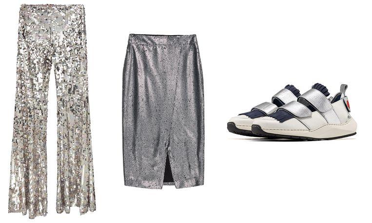 Van links naar rechts:  broek met soulpijpen van Asos € 59,99, kokerrok van Iben € 230, limited edition sneakers van RVDK x Filling Pieces, prijs op aanvraag. Beeld