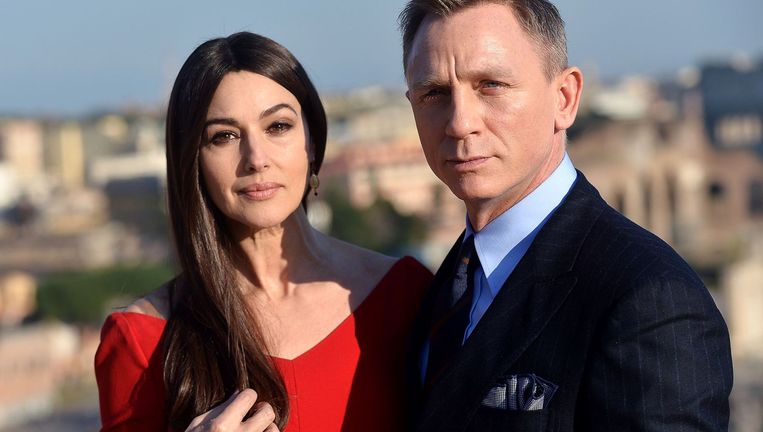 Monica Belluci en Daniel Craig, hoofdrolspelers in de nieuwste James Bond-film. Beeld afp