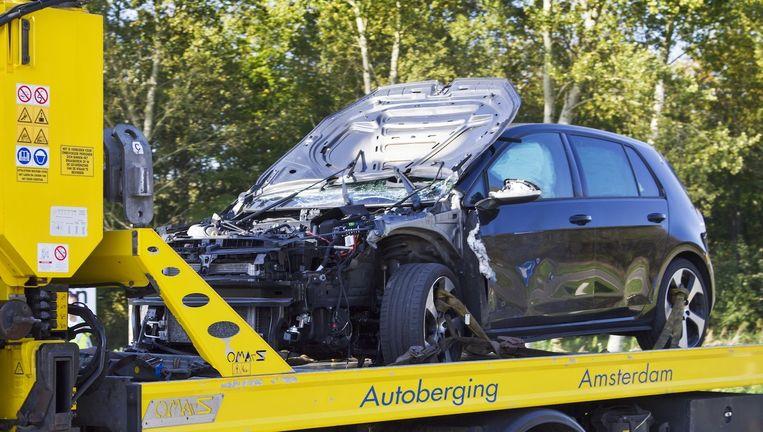 Chahid Y. reed met een passagier over de Poortdreef in Almere toen hun Volkswagen Golf werd aangereden door een andere auto. Beeld anp