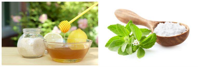 Kies liever voor stevia (rechts), waar je veel minder van nodig hebt dan van de klassieke suiker en honing.
