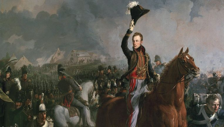 Schilderij van de Prins van Oranje in de Waterloozaal in Paleis Soestdijk. Beeld Freek van den Bergh
