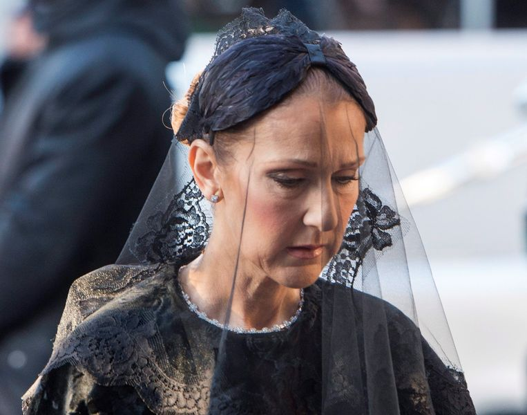 Céline Dion op de begrafenis van haar echtgenoot René