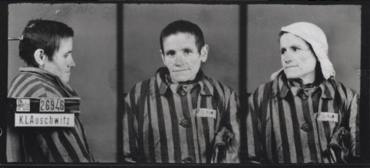 De registratiefoto's van Czesławas moeder Katarzyna, die tegelijkertijd met haar dochter in het kamp aankwam. De vrouw kreeg nummer 26949 en stierf op 18 februari 1943 in het kamp.