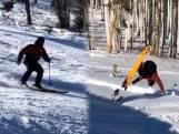 Fail: skiër probeert backflip en moet met brancard weggebracht worden