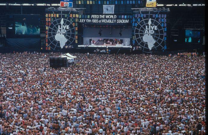 Live Aid in het Wembley Stadium (Londen).
