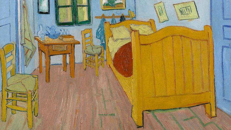 De slaapkamer (1888) van Vincent van Gogh met daarop het grenen tweepersoonsbed dat hij voor 150 Franse franc van een ambachtsman had gekocht Beeld Vincent van Gogh
