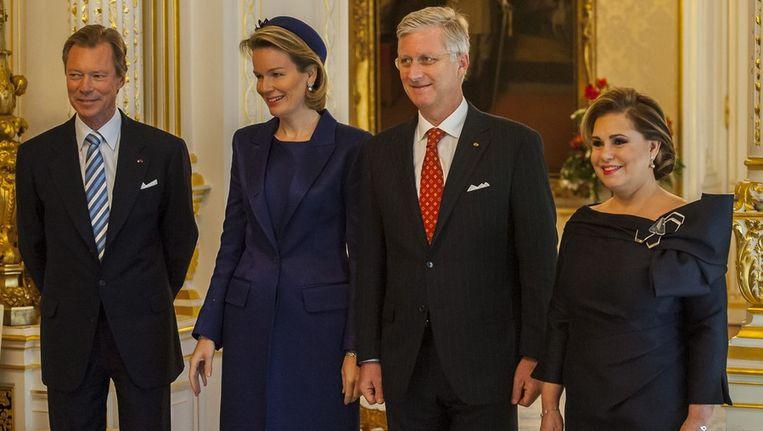 Groothertog Henri, koningin Mathilde, koning Filip en groothertogin Maria Teresa.