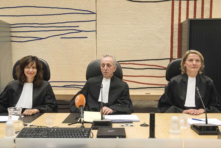 De rechters, voorafgaand aan de elfde pro-formazitting in de strafzaak tegen Willem Holleeder. Beeld ANP